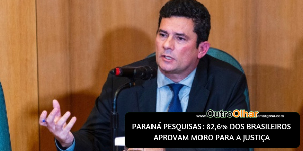 PARANÁ PESQUISAS: 82,6% DOS BRASILEIROS APROVAM MORO PARA A JUSTIÇA