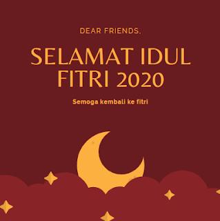 """Gambar bertuliskan """"Selamat Idul Fitri 2020 Semoga kembali ke fitri"""""""