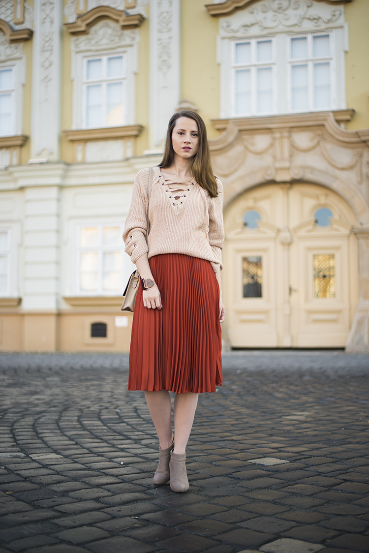 Skinny Buddha criss cross sweater pleated midi skirt