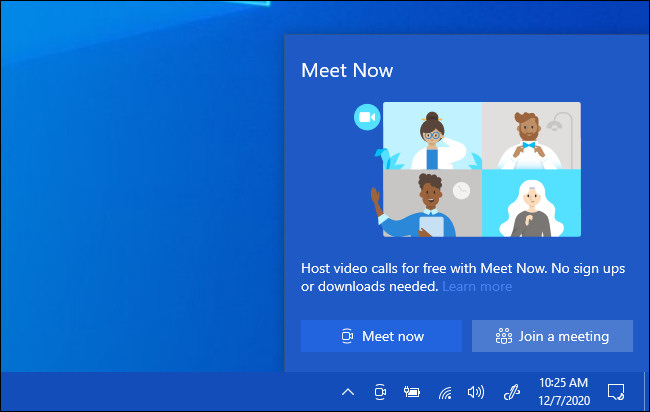 نافذة Meet Now المنبثقة في Windows 10.