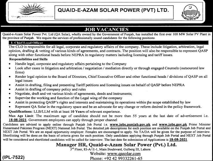 Latest Jobs in Quaid e Azam Solar Power Limited QA Solar 2021