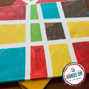 painting ideas for kids - tape resist canvas art