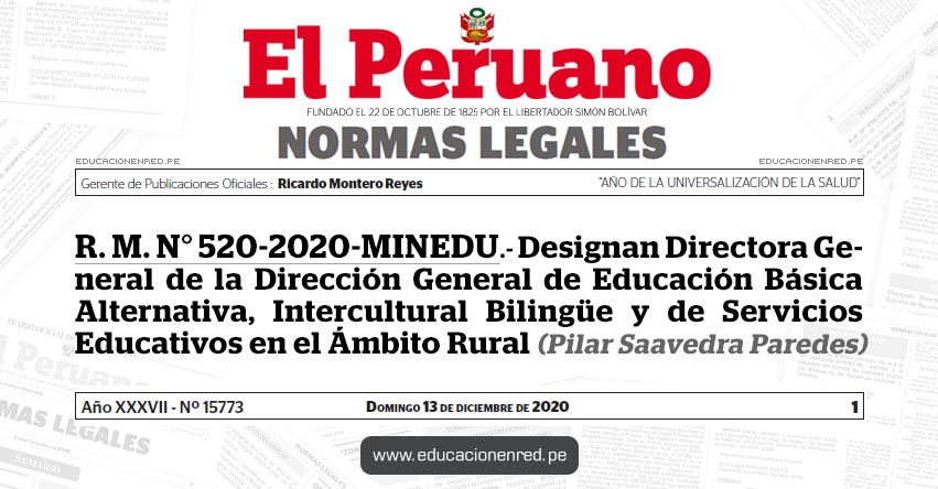 R. M. N° 520-2020-MINEDU.- Designan Directora General de la Dirección General de Educación Básica Alternativa, Intercultural Bilingüe y de Servicios Educativos en el Ámbito Rural (Pilar Saavedra Paredes)