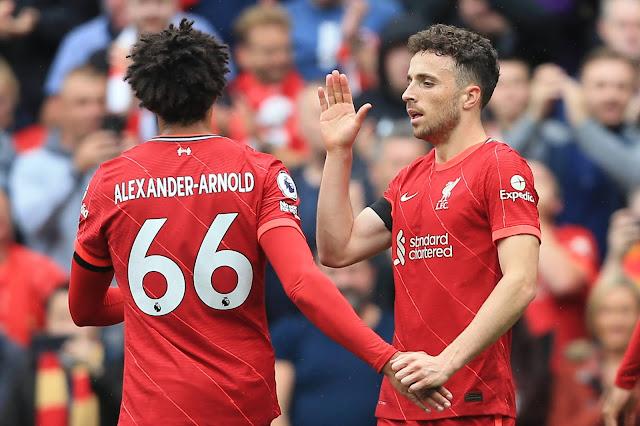 Liverpool players Alexander-Arnold, Diogo Jota