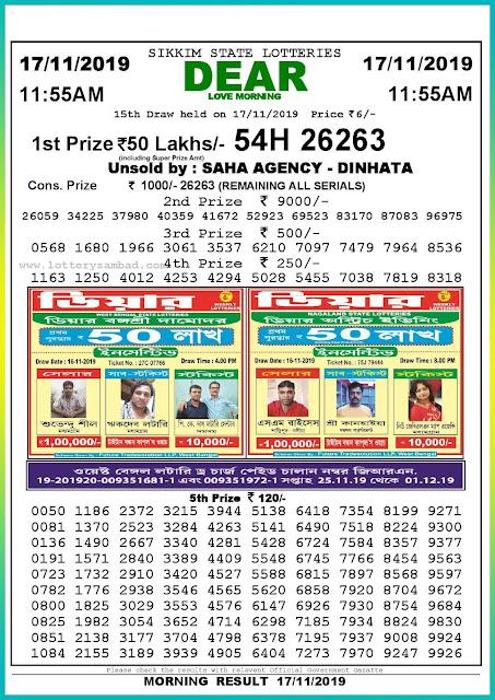 Sambad lottery 17-11-2019 Sikkim State Lottery Result 11.55 AM-lotterysambadresults.com