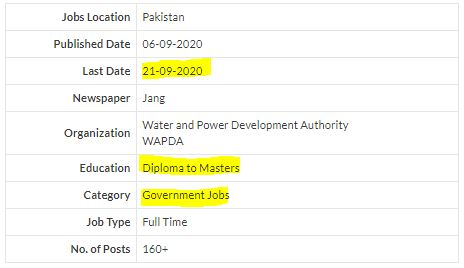 WAPDA Jobs September 2020 Apply online for the latest advertising through PTS by Salmanclicks.com