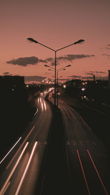 Night, road, night, big exposure, lights, darkness
