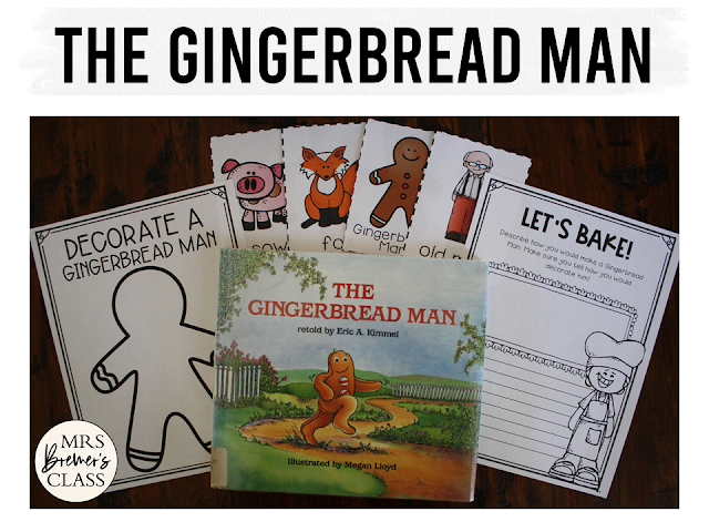 Gingerbread Man book study companion activities perfect for Christmas in K-1! The unit includes a class book and a sweet craftivity!