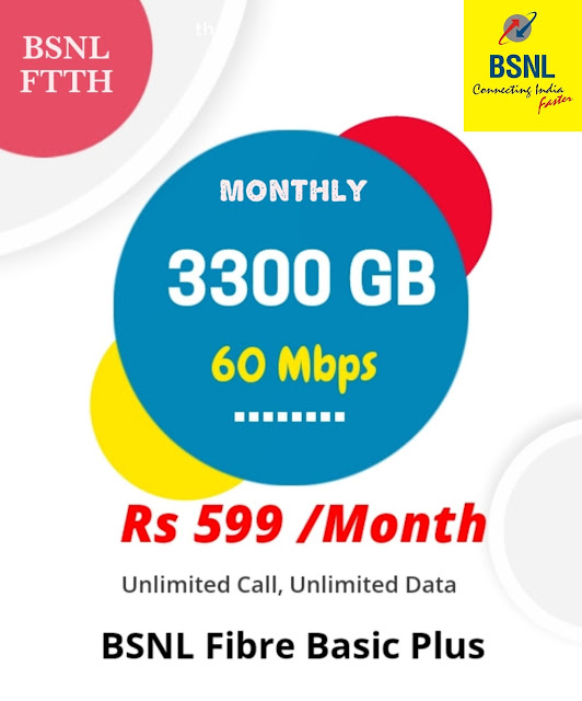 Exclusive : BSNL Fiber Basic Plus ₹599 plan with 60Mbps download speed listed in Selfcare Portal, Plan is available to existing and new customers all over India