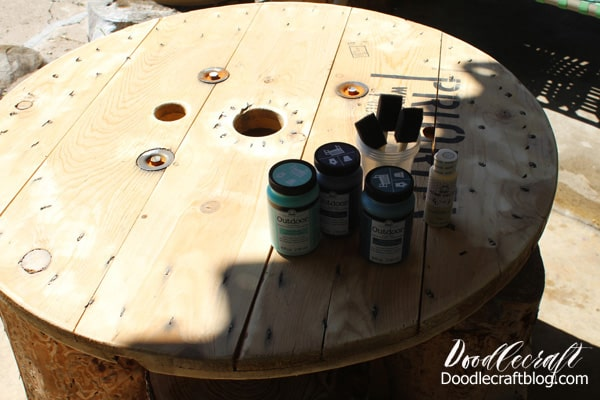 Plad Folk Art Outdoor paint is perfect for a wooden spool table for the patio.