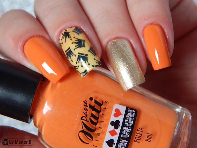 nail art com esmalte laranja