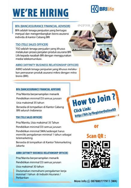 Lowongan Kerja BRI Life Minimal SMA Sederajat D3 Seluruh Indonesia