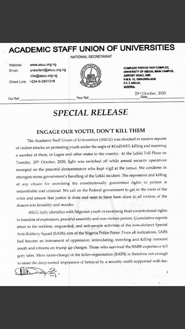 'Engage Our Youths, Don't Kill Them' - ASUU Writes Emotional Letter To Federal Government