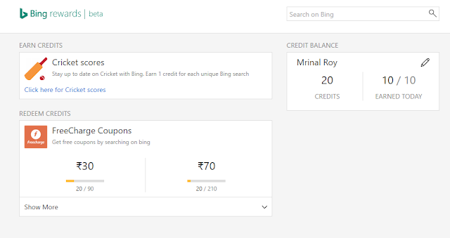 freecharge bing rewards