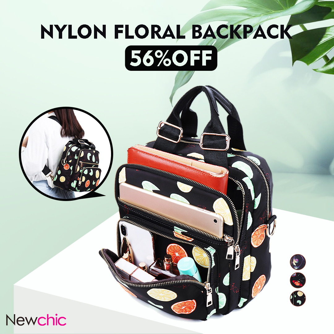 Nylon Vintage Floral Multifunctional Convertible Backpack