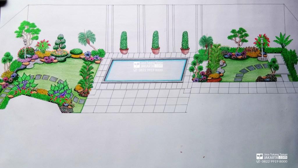 Desain Sketsa Taman area belakang
