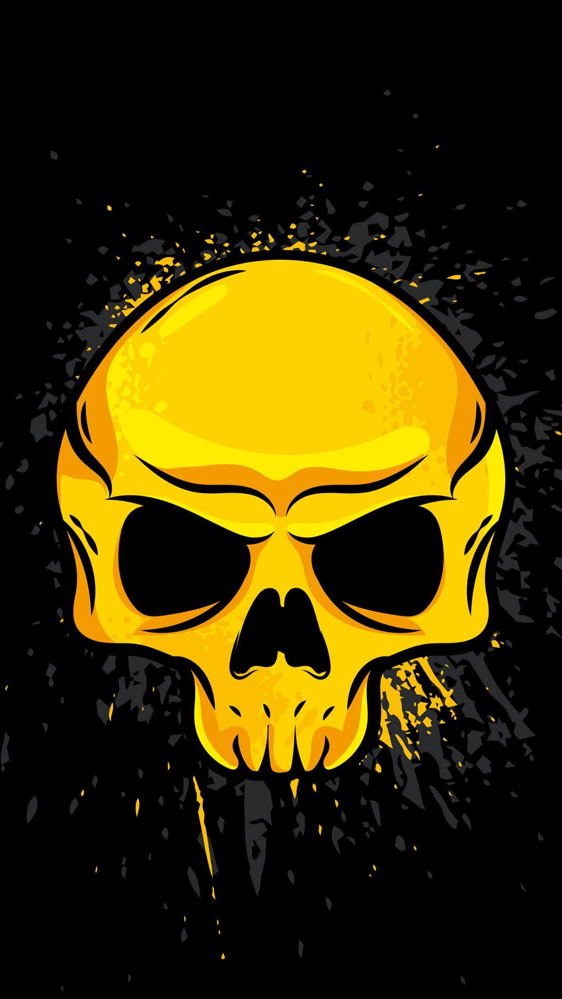 Gold skull Minimalist Mobile Wallpaper
