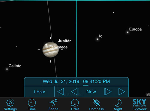Sky Safari Pro screenshot shows position of Jupiter's moons (Source: Palmia Observatory)