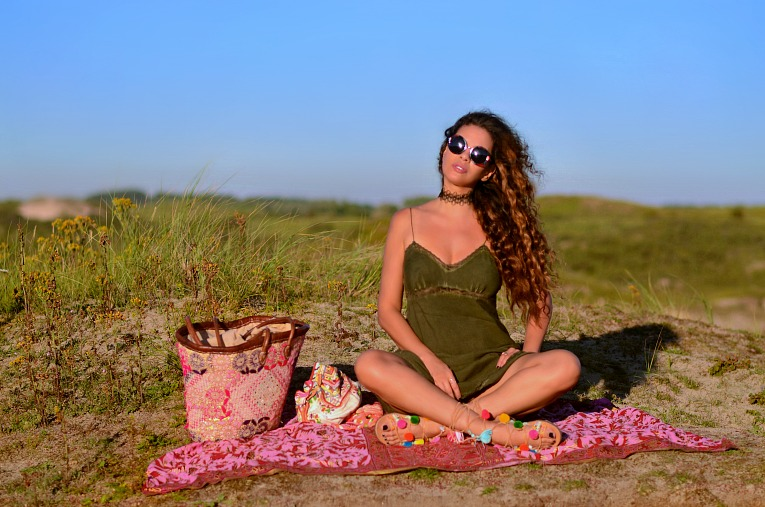 Zara slip dress, Maria BK Pom pom sandals, Lace choker, Round sunglasses, Jacky luxury bag, Boho style, curly hair, TC Style Clues, Tamara Chloé
