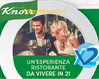 Logo Buon Cibo Knorr : cena al ristorante 2x1 come premio certo