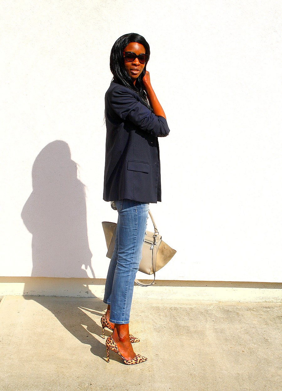 Blog mode Sac Celine trapeze  jeans dechire Zara escarpins leopard look working girl