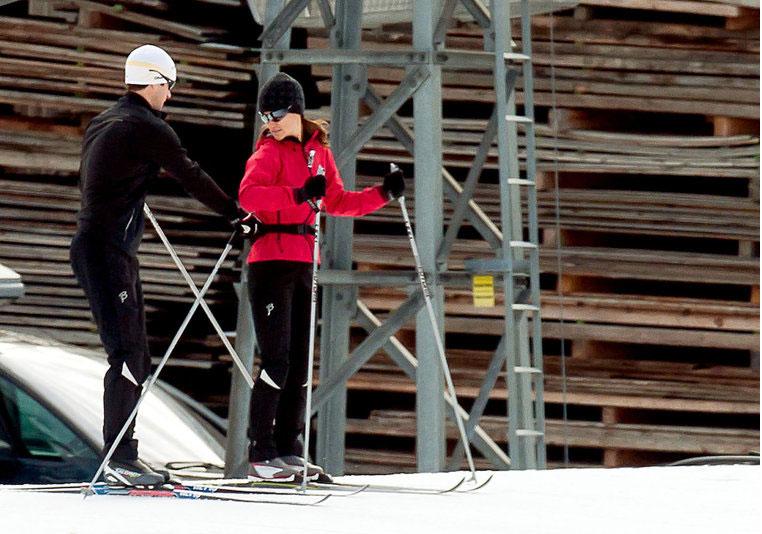 Foto de archivo: Pippa en Febrero 2012  entrenando en Suiza para participar en la carrera de Vasaloppet, en Suecia