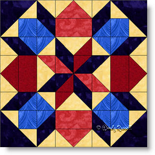 Jewels in a Frame quilt block image © Wendy Russell
