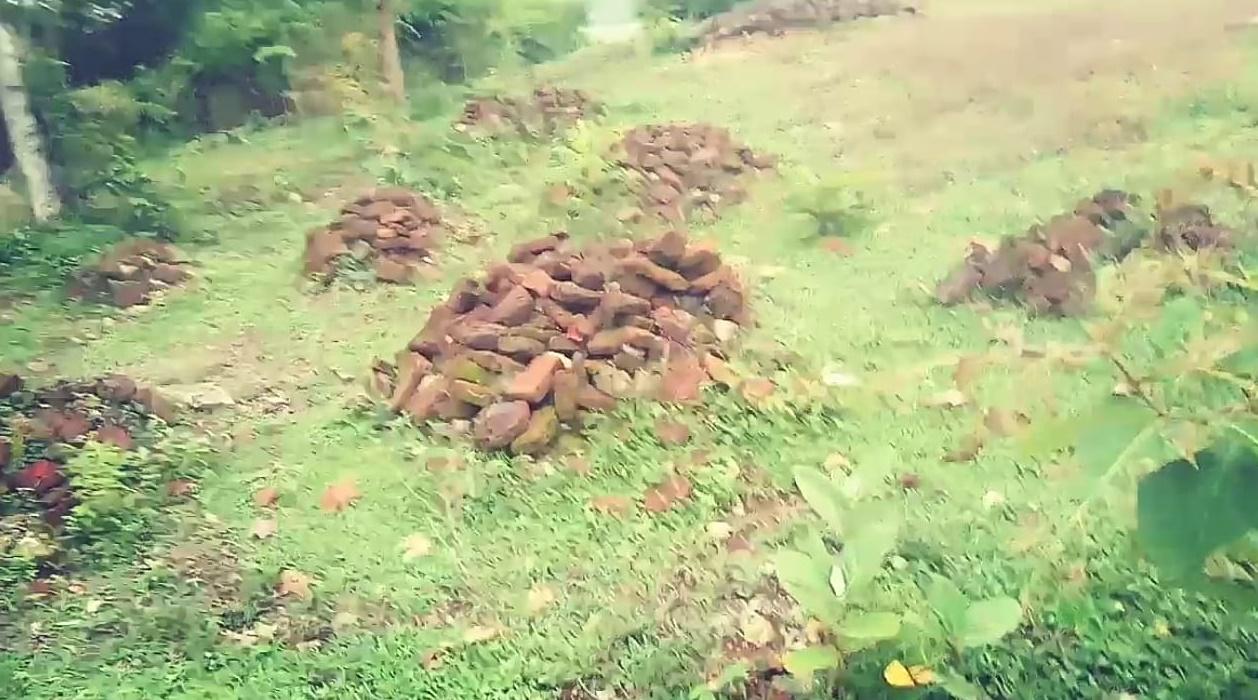 Gambar batu bata sisa bangunan situs candi sentono