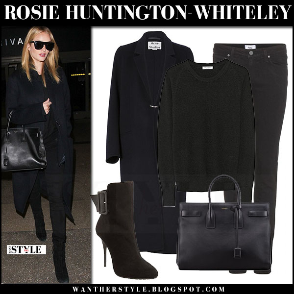 Rosie Huntington-Whiteley in black acne foin coat, black jeans and black suede ankle boots giuseppe zanotti what she wore