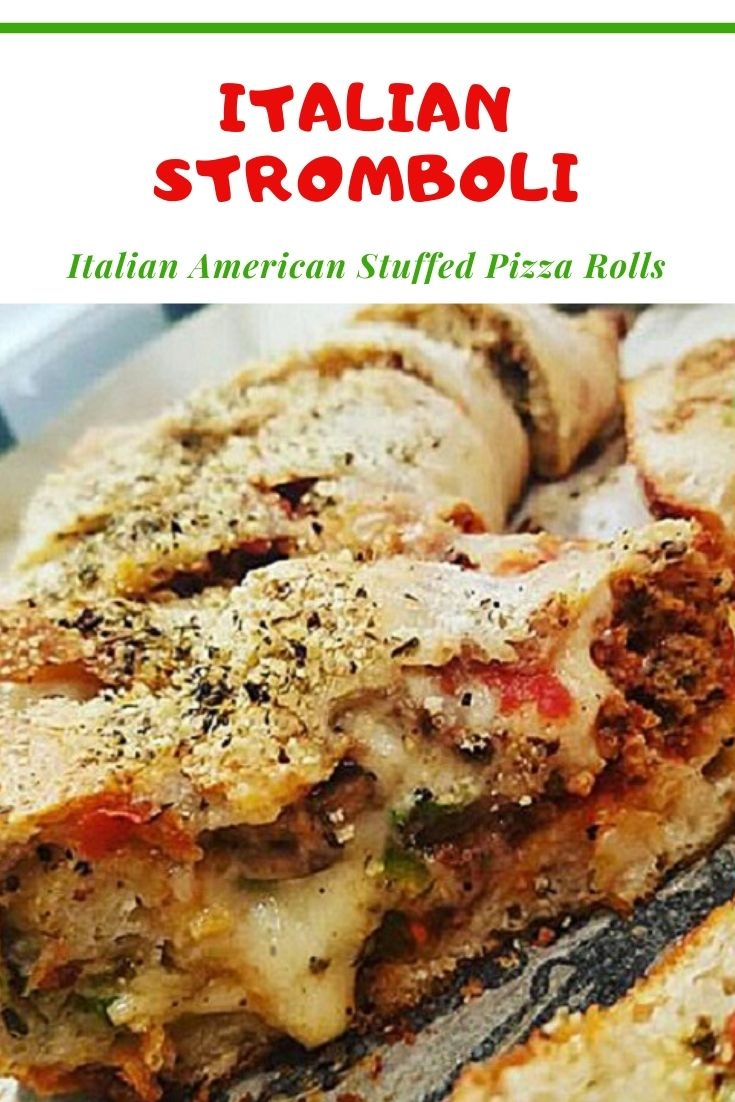 this is a pin for later stromboli recipe and photo on how to make this Italian pizza roll