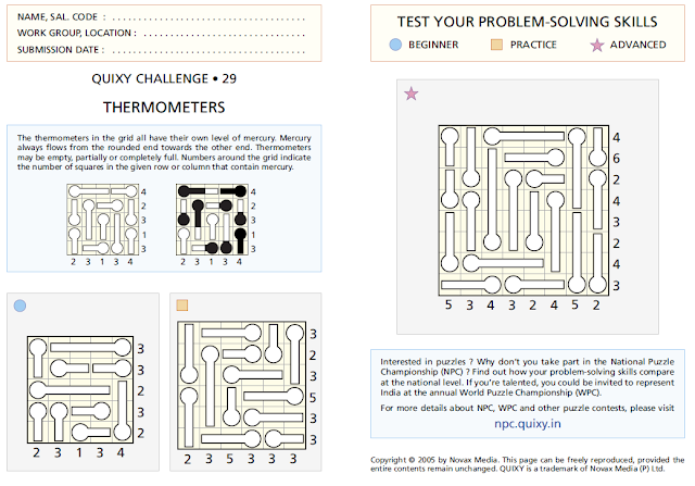 THERMOMETERS Puzzles