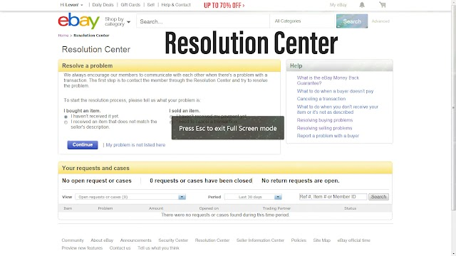 Using the eBay Security and Resolution Center