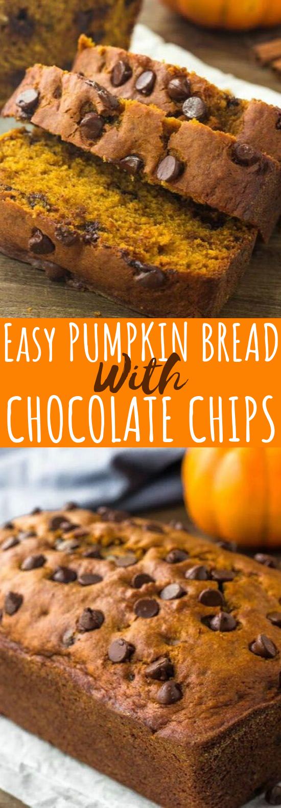 Pumpkin Chocolate Chip Bread #pumpkin #desserts