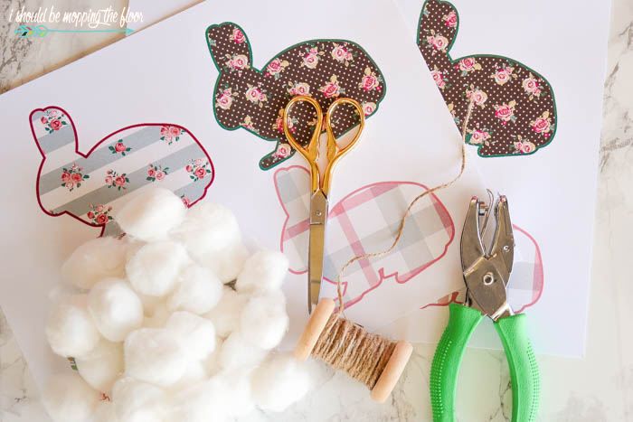 Free Printable Bunny Banner | Four coordinating spring patterns on bunnies. | Perfect for banners or framing. | Instant download.