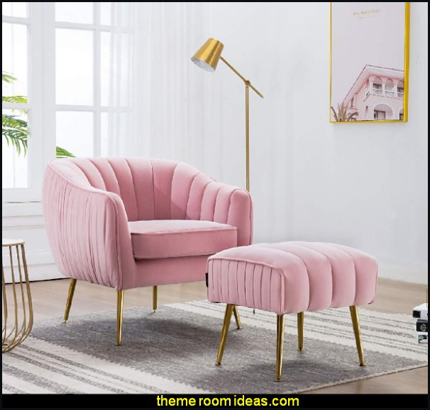 Modern Velvet Upholstered Ottoman Footrest armchair Gold Finished Mental Legs blush Pink