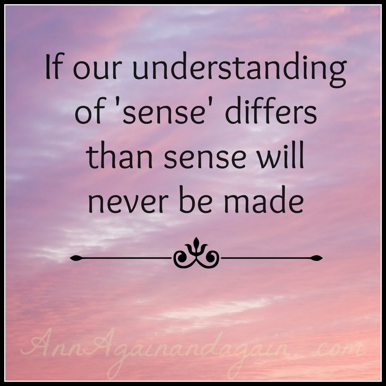 If our understanding of sense differs than sense will never be made - Ann Again and again