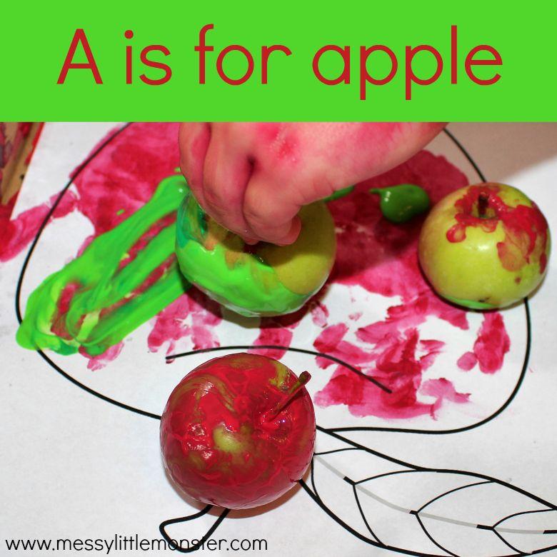 apple theme art activity for preschoolers
