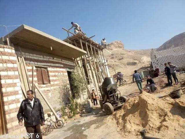 إزالة حالة تعد وإيقاف أعمال بناء بقريتين بمركز ملوي بالمنيا