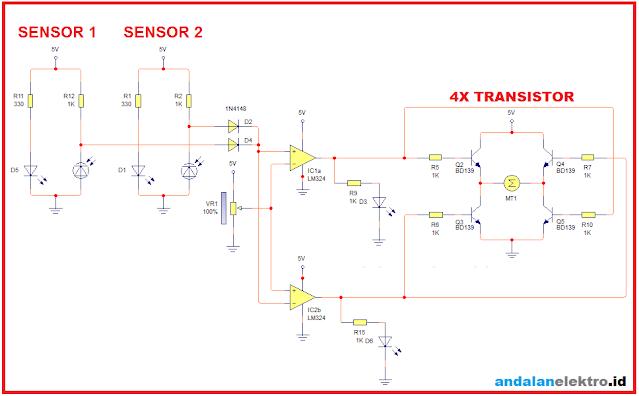 skema robot line follower analog 4 sensor driver transistor