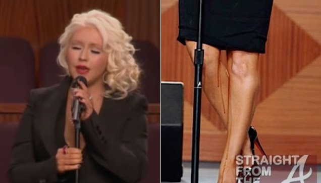 Christina Aguilera strange fluids dripping on her legs