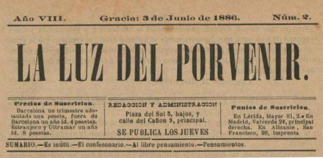 Cabecera de La Luz del Porvenir, editado en Gracia (Barcelona)