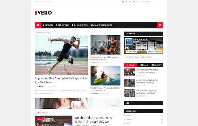 Ivero Responsive Magazine News Personal Blog Tutorial Sites Blogger Template Theme