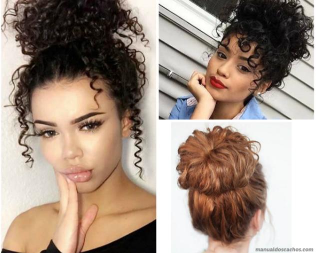 Penteado coque para cabelos cacheados manual dos cachos