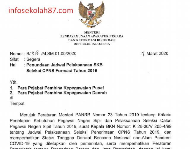 Surat Edaran Penundaan jadwal Seleksi Kompetensi Bidang (SKB) CPNS Tahun Anggaran 2019