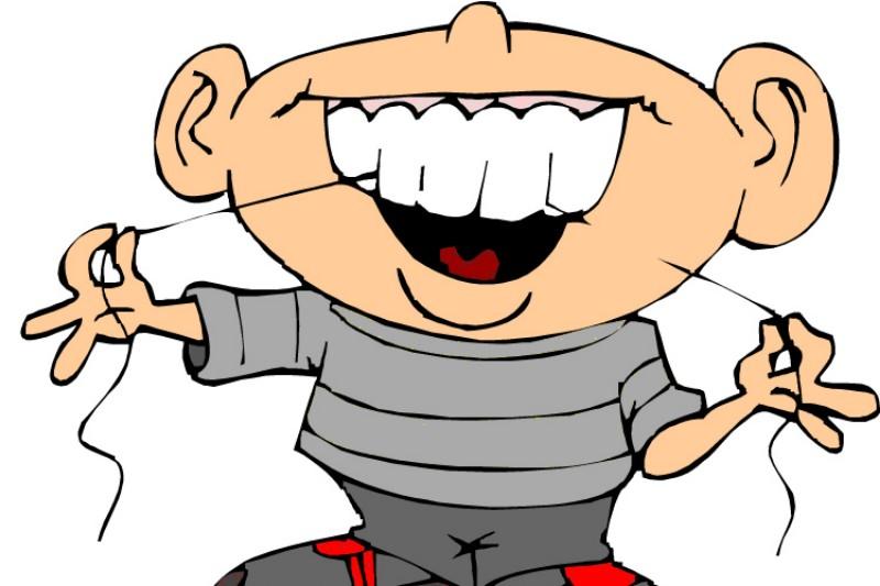 Flossing teeth, men's hygienic habit.