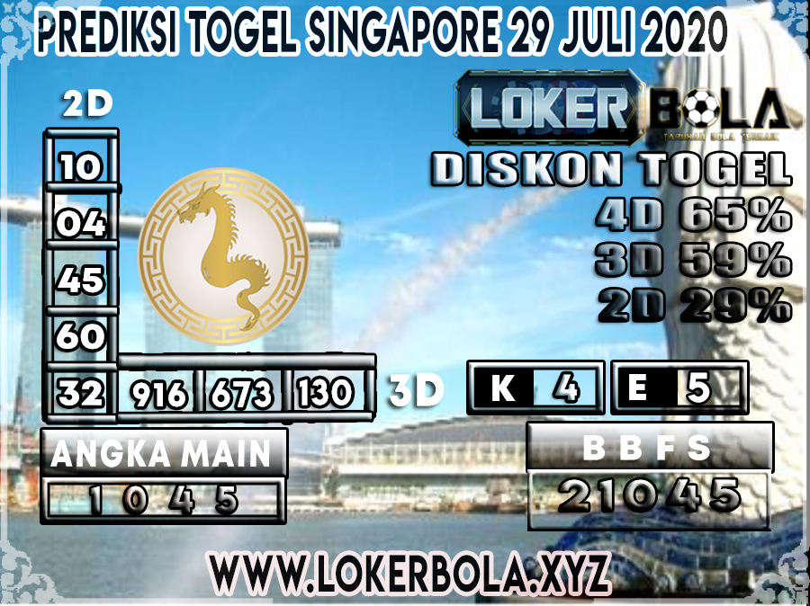 PREDIKSI TOGEL LOKERBOLA SINGAPORE 29 JULI 2020