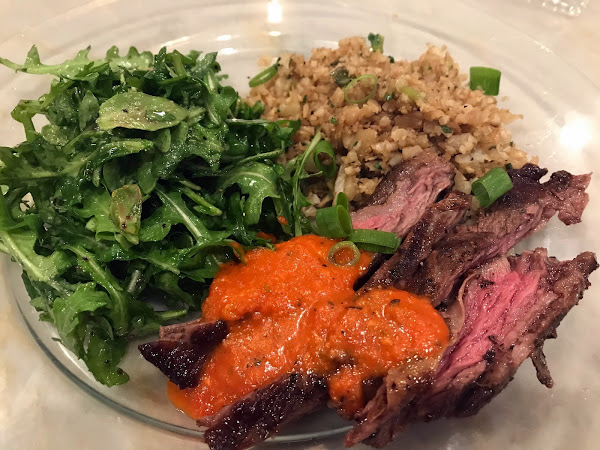 Purging the house leads to a delicious dinner (Skirt Steak and Cauliflower Rice with Red Pepper Sauce )