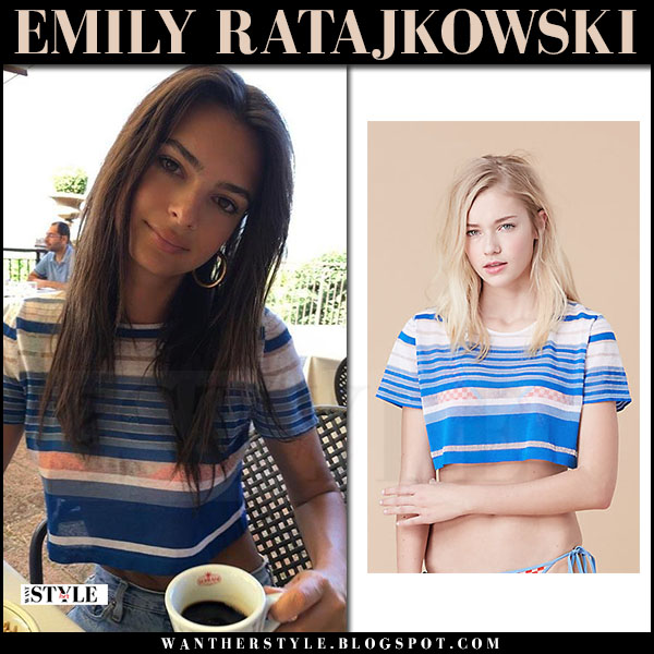 Emily Ratajkowski in blue striped cropped top dvf what she wore june 16 2017