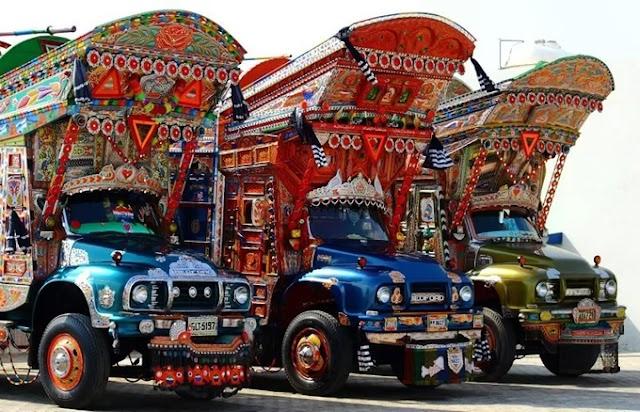 Colorful trucks in Pakistan