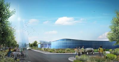 Perspective 3d piscine concours architecte vue extérieure